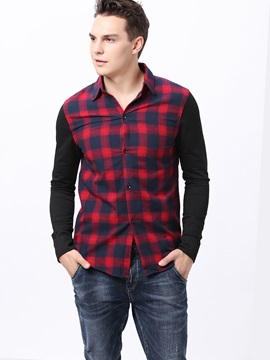 Colorful Plaid Sleeve Block Men's Casual Shirt