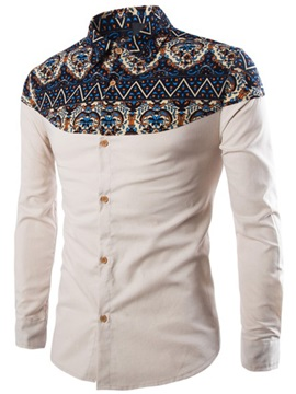 Printing Patched Lapel Men's Slim Fit Shirt