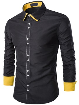 Color Block Line Design Placket Men's Shirt