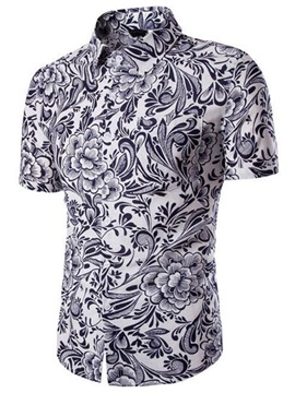 Casual Short Sleeve Men's Floral Printed Shirt