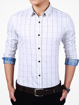 Plaid Slim Fit Men's Long Sleeve Shirt