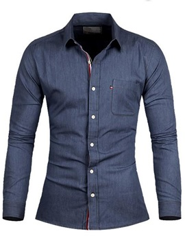 Solid Color Chest Pocket Men's Denim Shirt