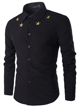 Embroidery Stars Long Sleeve Men's Casual Shirt