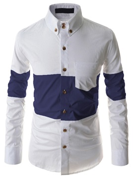 Patchwork Single-Breasted Men's Chest Pocket Shirt