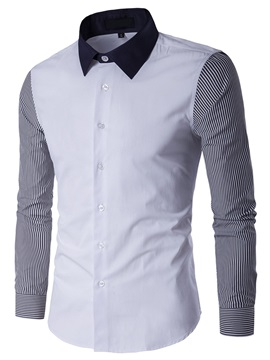 Vertical Stripe Patch Single-Breasted Men's Casual Shirt