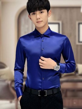 Solid Color Glossy Slim Fit Men's Causal Shirt