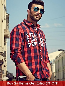 Plaid Letter Printed Men's Causal Shirt