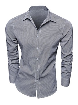 Gracile Stripe Design Men's Cotton Blend Shirt