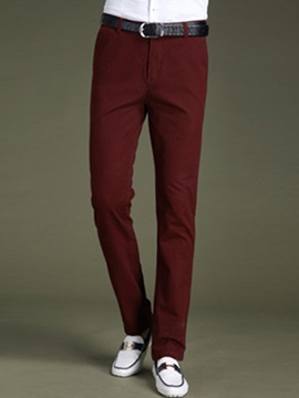 Men's Slim Fit Solid Color Non Iron Straight Legs Pants