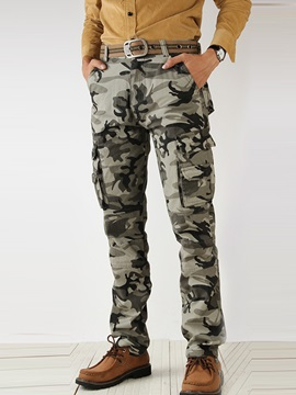 Plus Size Middle Waist Men's Camouflage Work Pants