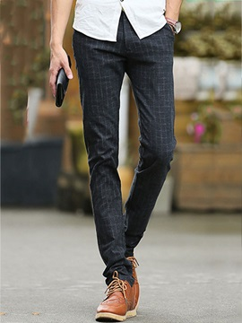 Plaid Decorated Slim Fit Men's Casual Pants with Velvet