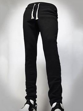 Solid Color Lace Up Men's Casual Sports Pants
