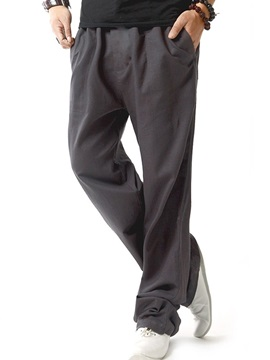 Straight Solid Color Men's Linen Blend Casual Pants