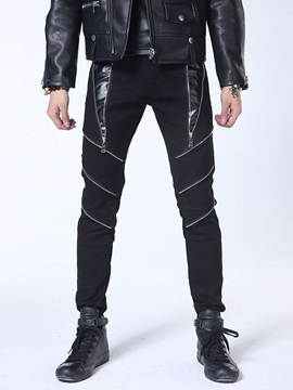Zipper Decorated Slim Men's Casual Pants