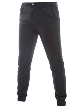 Solid Color Zipper Men's Causal Pants