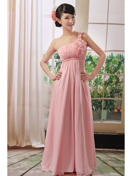 Hot Selling Flowers One Shoulder Floor Length A-Line Bridesmaid Dress & Hot Sale Wedding Apparel under 300