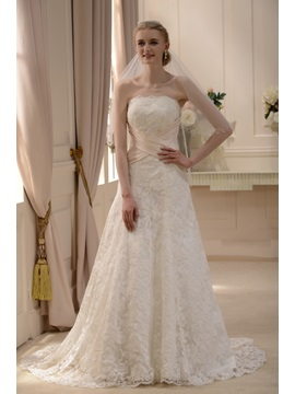 Elegant Slight Strapless A-Line/Princess Court Train Wedding Dress & inexpensive Hot Sale Wedding Apparel