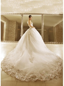 Luxurious Strapless Beads Ball Gown Cathedral Train Lace-up Wedding Dress & Hot Sale Wedding Apparel under 300