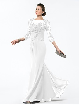 High Quality Bateau Neck Appliques Long Sleeve Mermaid Mother of the Bride Dress & Hot Sale Wedding Apparel under 100