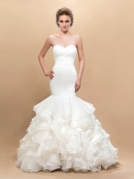 Attractive Sweetheart Trumpet Pleats Button Floor-Length Wedding Dress & Hot Sale Wedding Apparel from china