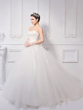Timeless Ball Gown Floor-length Sweetheart Appliques/Sequins Neck Lace-up Wedding Dress & informal Hot Sale Wedding Apparel
