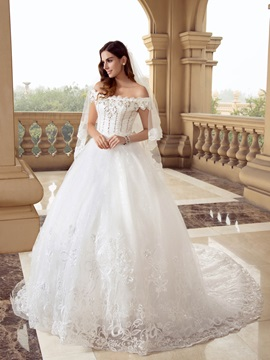 Eye-catching Scalloped Off the Shoulder Beaded Ball Gown White Lace Wedding Dress & Hot Sale Wedding Apparel under 300