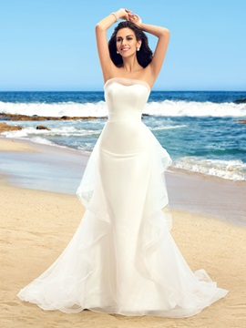 Dazzling Strapless Ruffles Tulle Ivory Mermaid Wedding Dress & colorful Hot Sale Wedding Apparel
