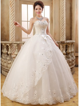 Cute Sweetheart Beaded Lace Appliques Bowknot Ball Gown Wedding Dress & colored Hot Sale Wedding Apparel
