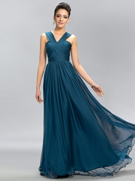 Simple V-Neck Ruffles Floor-Length A-Line Chiffon Long Bridesmaid Dress & unique Hot Sale Wedding Apparel