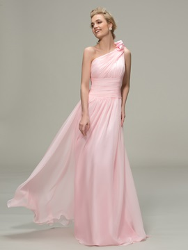 Simple Style Ruched One Shoulder A-Line Long Bridesmaid Dress & unusual Hot Sale Wedding Apparel