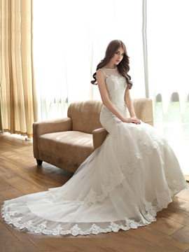 Beaded Scoop Neck Lace Appliques Mermaid Chapel Train Wedding Dress & Hot Sale Wedding Apparel 2012
