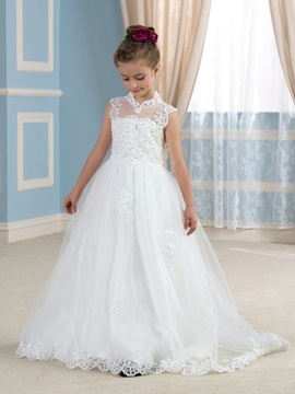 Chic Beaded Lace High Collar Neck Open Back Ivory Flower Girl Dress & Hot Sale Wedding Apparel under 300