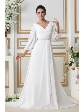 Glamorous 3/4-Length Empire V-neck Court Train Sleeves Taline's Wedding Dress & Hot Sale Wedding Apparel from china