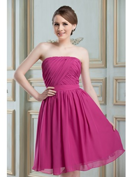 Cheap Ruched A-Line Strapless Knee-Length Nadya's Bridesmaid Dress & inexpensive Hot Sale Wedding Apparel