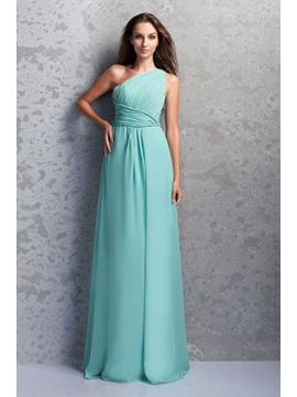 Affordable One-Shoulder Ruched A-Line Floor-Length Miriama's Bridesmaid Dress & elegant Hot Sale Wedding Apparel