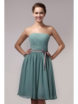 Elegant Sashes/Ribbons Knee-Length Strapless Bridemaid Dress & Hot Sale Wedding Apparel 2012