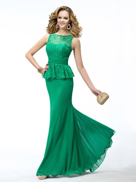 Vintage Trumpet Bateau Neckline Lace Ruffles Floor-length Evening Dress & Hot Sale Evening Dresses from china