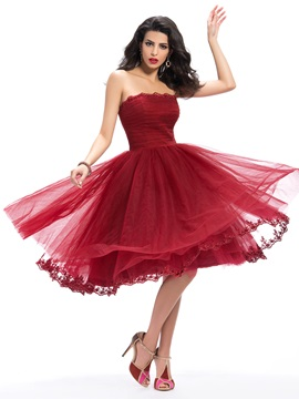 Red Strapless Appliques A-Line Knee-Length Cocktail Dress & Hot Sale Evening Dresses under 500