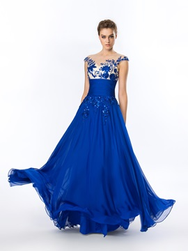 Delicate A-Line Embroidery Beading Long Evening Dress & Hot Sale Evening Dresses from china