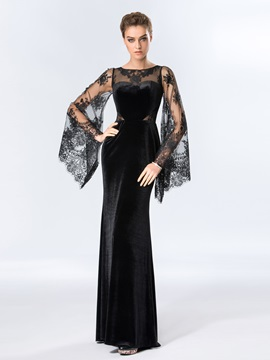 Ladylike Bateau Neckline Lace Long Sleeves Evening Dress Designed & Hot Sale Evening Dresses on sale