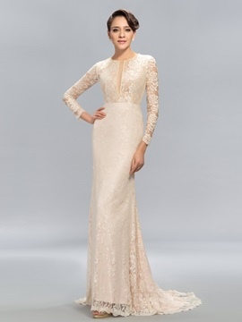 Sheath Jewel Neck Lace Long Sleeves Sweep Train Evening Dress Designed & fairy Hot Sale Evening Dresses