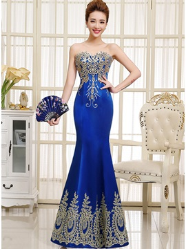 Ladylike Sweetheart Appliques Mermaid Zipper-Up Long Evening Dress & casual Hot Sale Evening Dresses
