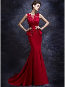 Graceful Jewel Neck Appliques Trumpet Beading Court Train Evening Dress & Hot Sale Evening Dresses from china