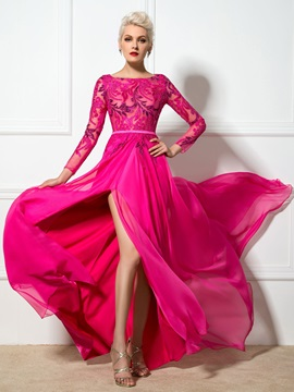 Ladylike Bateau Neck Sequined Appliques Long Sleeves Split-Front Long Evening Dress & attractive Hot Sale Evening Dresses