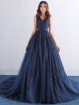 Elegant V-Neck Appliques Sequins Lace-Up Long Evening Dress & Hot Sale Evening Dresses under 300