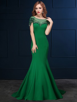 Vintage Cap Sleeve Beading Bowknot Mermaid Evening Dress & Hot Sale Evening Dresses on sale