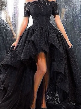 Off the Shoulder Short Sleeve High Low Lace Evening Dress & attractive Hot Sale Evening Dresses