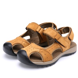 PU Closed Toe Velcro Men's Sandals