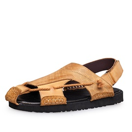 Embossed PU Velcro Sandals