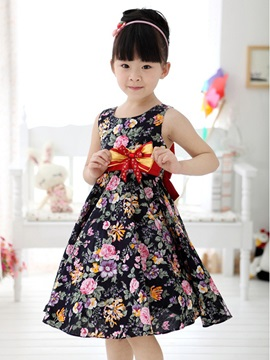 Black Floral Print Bowknot Decorated Girl's Dress